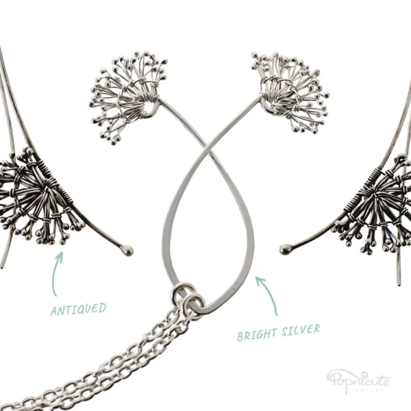 Dandelion White Puff Necklace and Earrings by Popnicute Jewelry. Antiqued VS bright silver.