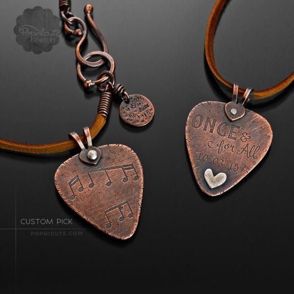 Custom made designer etched guitar pick by Popnicute jewelry
