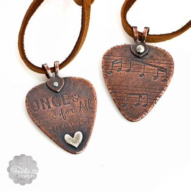 Custom made designer etched guitar pick by Popnicute jewelry