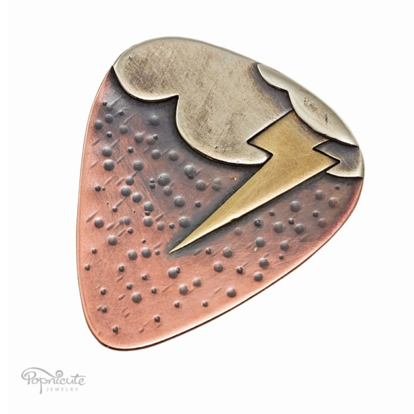 stormy summer novelty lightning guitar pick by Popnicute Jewelry