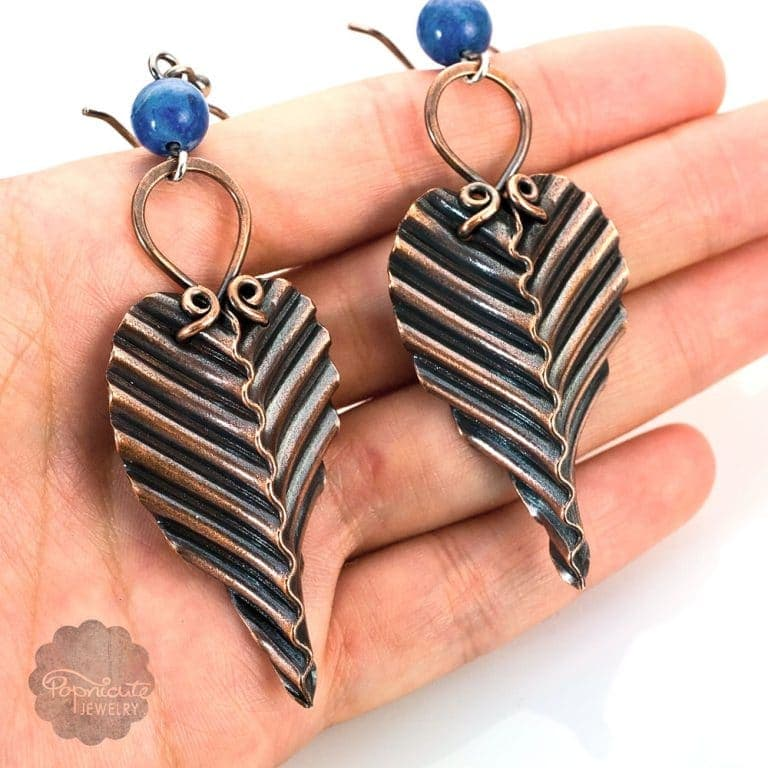 Handmade Copper Leaf Earrings by Popnicute Jewelry