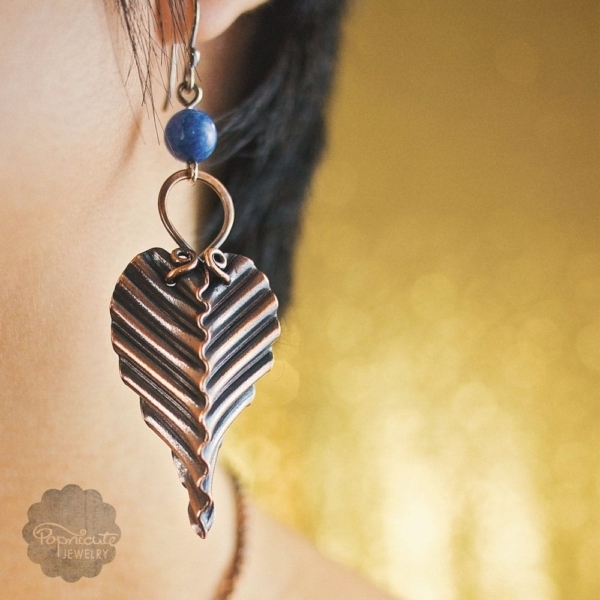 Copper Leaf Earrings Lapis Lazuli