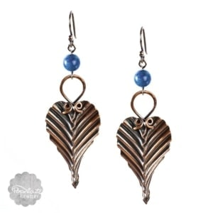 Copper Leaf Earrings Lapis Lazuli – L
