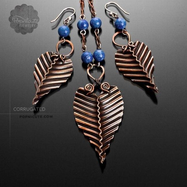 Handmade Copper Leaf Necklace & Earrings by Popnicute Jewelry