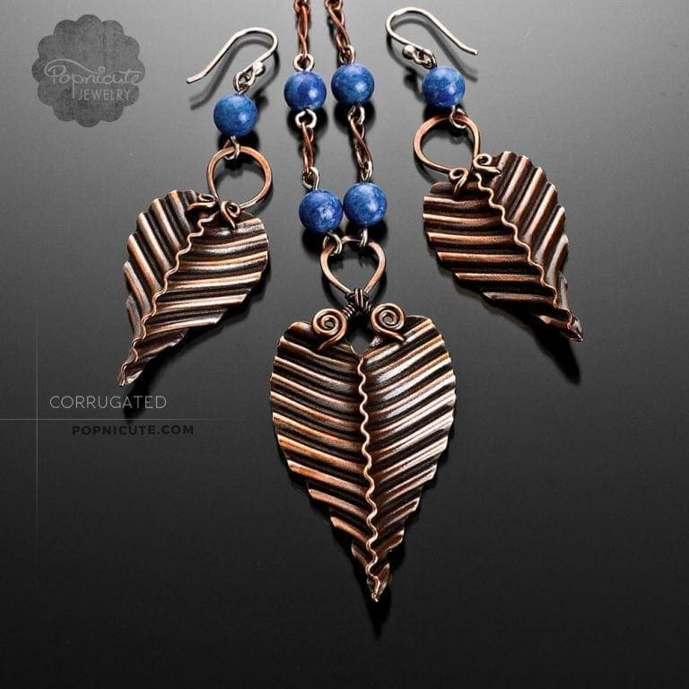 Handmade Copper Leaf Necklace & Earrings by Popnicute Jewelry