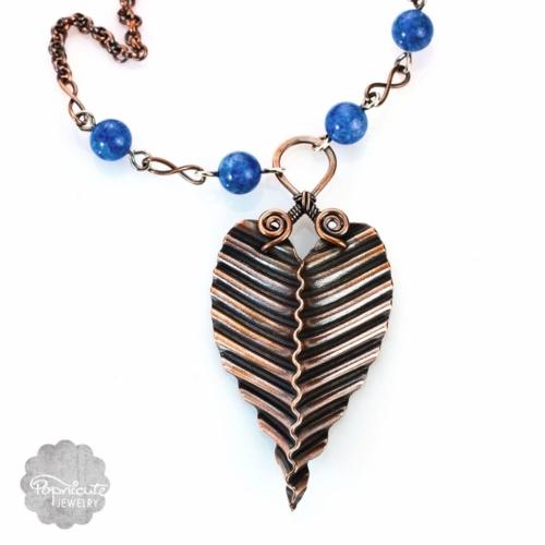 Copper Leaf Necklace Lapis Lazuli