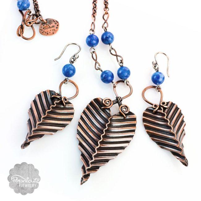 Copper Leaf Necklace Earrings