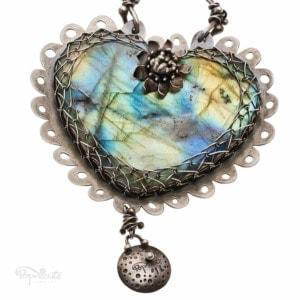 Whimsical Sterling Silver Heart Labradorite Pendant