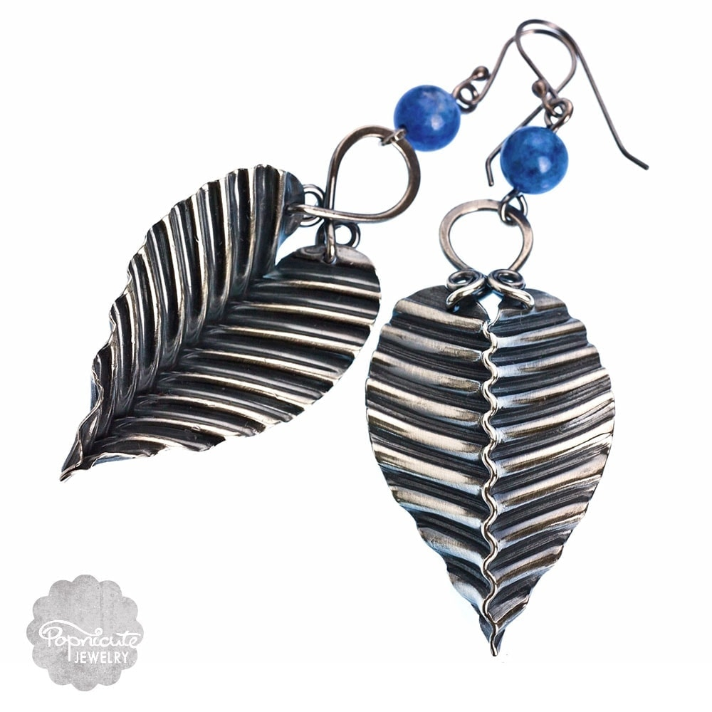 Zigzag accordion fold pleats artisan silver lapis lazuli earrings by popnicute jewelry