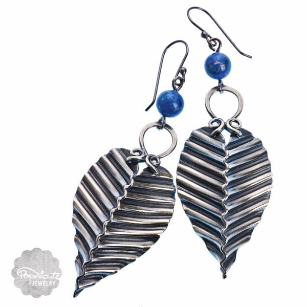 artisan silver lapis lazuli earrings by popnicute jewelry