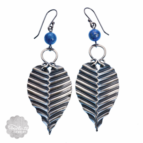 Silver Leaf Lapis Earrings