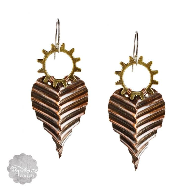 corrugated cogwheel copper steampunk earrings by popnicute jewelry