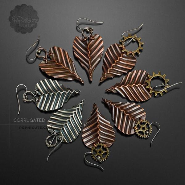 corrugated gear copper steampunk earrings by popnicute jewelry