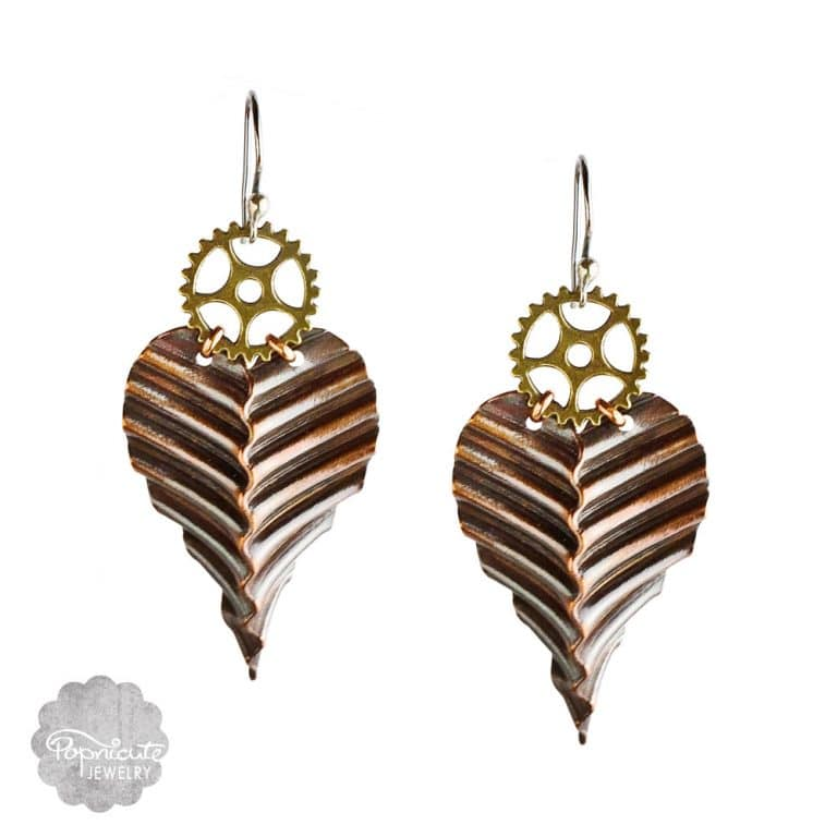 corrugated gear copper steampunk earrings by popnicute jewelry