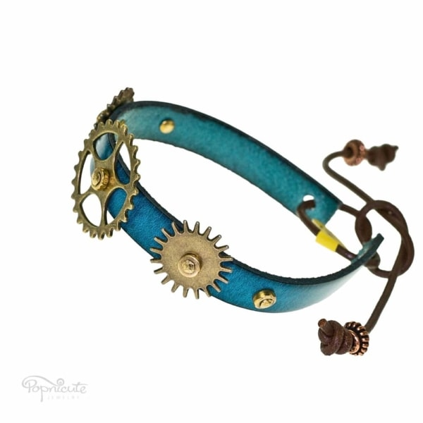 Teal blue leather band steampunk bracelet with gears and studs by Popnicute Jewelry. Unisex leather bands. Rock chic. Gift for rockers or bikers.