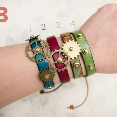 3 Gears Blue Leather Wrap Bracelet