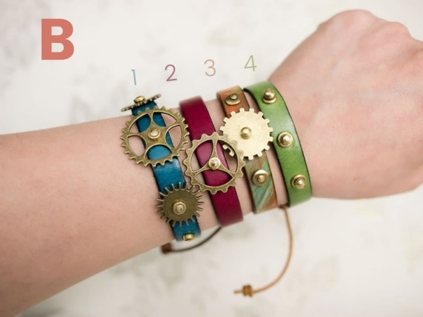 Colorful leather wrap bracelets with Steampunk-esq feel. Designed and handmade by Kharisma Sommers of Popnicute Jewelry.