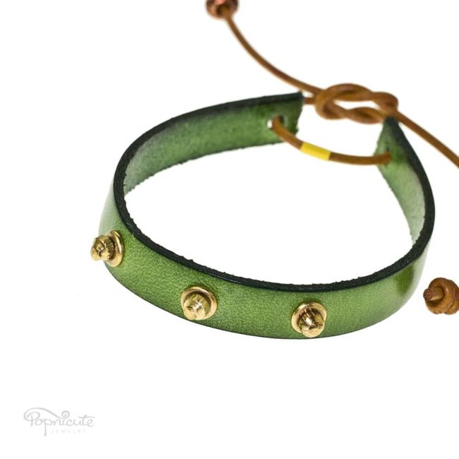 Green studded steampunk bracelet leather band by Popnicute Jewelry. Unisex leather bands. Rock chic. Gift for rockers or bikers.