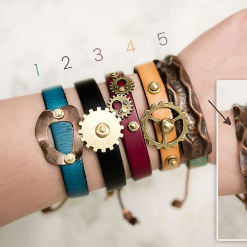 Tan Leather Steampunk Bracelet