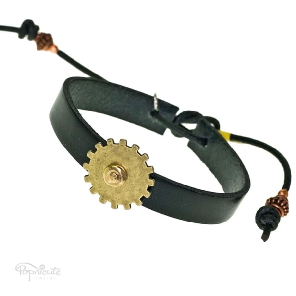 Black gear bracelet. Black leather band steampunk bracelet with gears and studs by Popnicute Jewelry. Unisex leather bands. Rock chic. Gift for rockers or bikers.