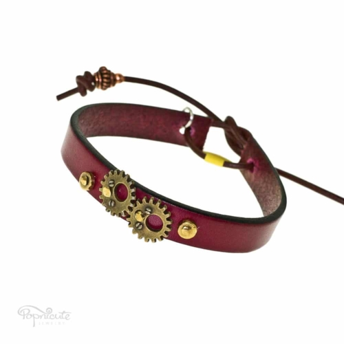 Burgundy Leather Steampunk Bracelet