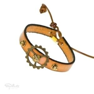 Tan Leather Steampunk Bracelet