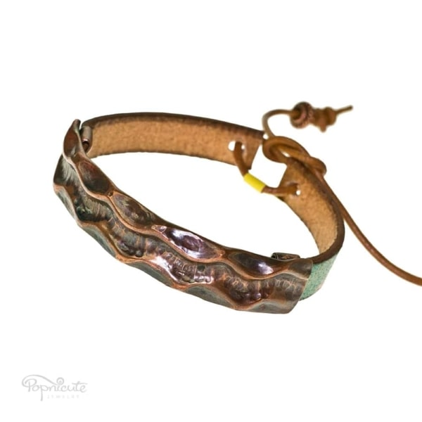 Textured copper bracelet leather band by Popnicute Jewelry. Unisex leather bands. Rock chic. Gift for rockers or bikers.