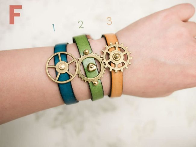 F blue green tan leather bands copper brass gears steampunk bracelets
