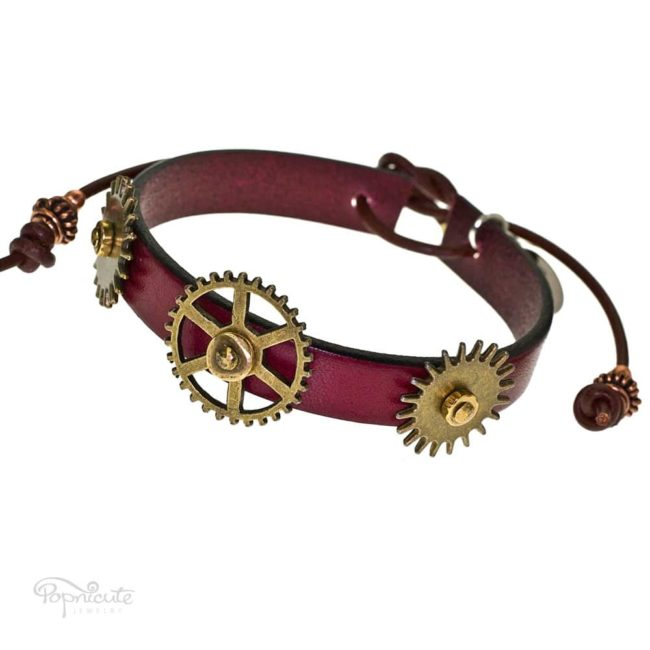 An attractive 3 gears bracelet made of burgundy red genuine leather by Popnicute Jewelry. This bracelet is fun and simple for daily wear. Looks great stacked with other bracelets.