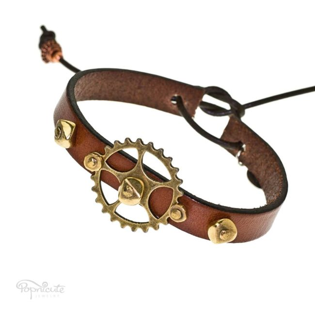 Brown gear bracelet. Black leather band steampunk bracelet with gears and studs by Popnicute Jewelry. Unisex leather bands. Rock chic. Gift for rockers or bikers.