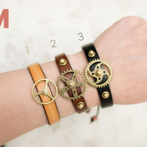 Brown Gear Studded Bracelet
