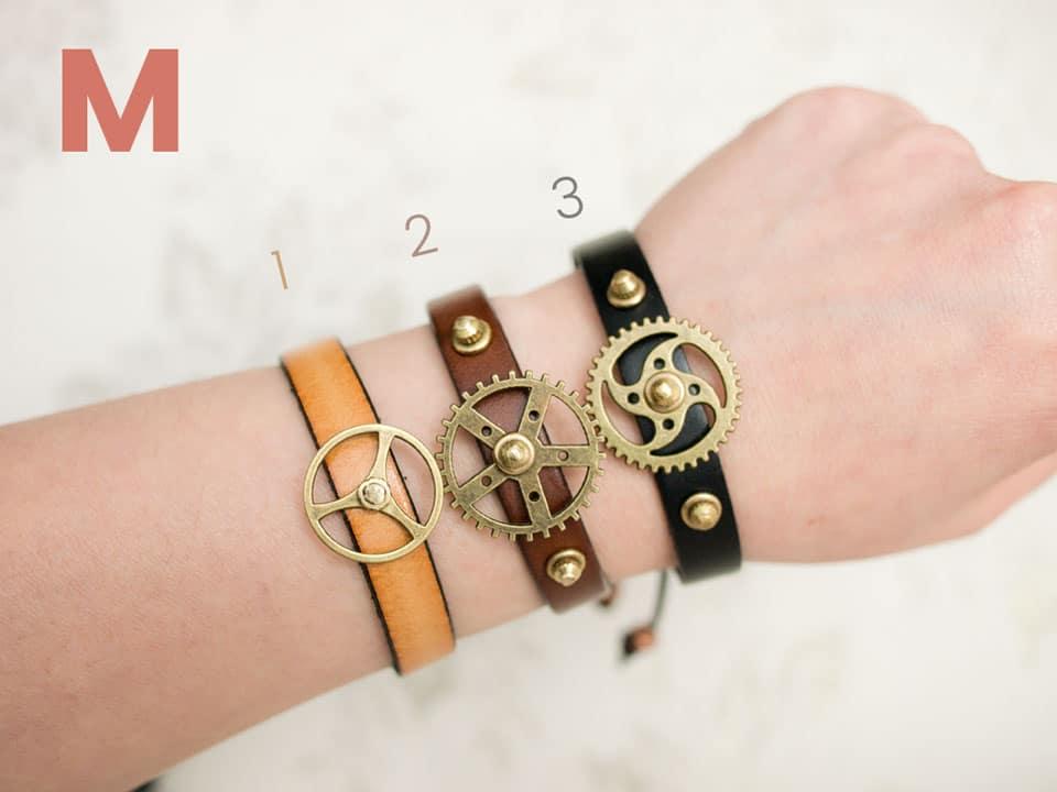 Black Gear Studded Bracelet