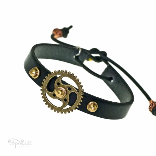 Black Gear Studded Bracelet
