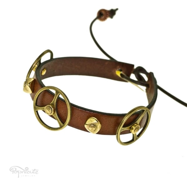 A glorious brown steampunk bracelet made of genuine leather for your next steampunk festivities. This steampunk bracelet is fun for daily wear too.