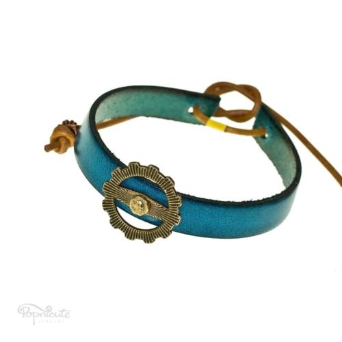Teal Leather Gear Bracelet
