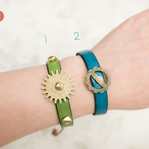 Teal Leather Gear Bracelet