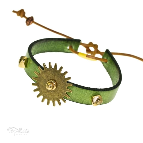 Green Studs Leather Bracelet