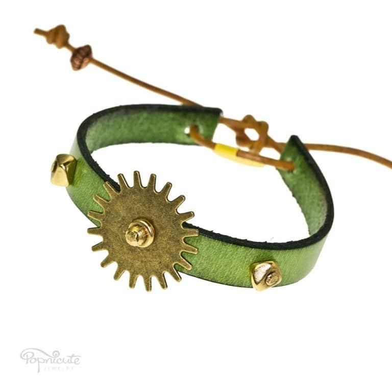 Green Studs Leather Bracelet