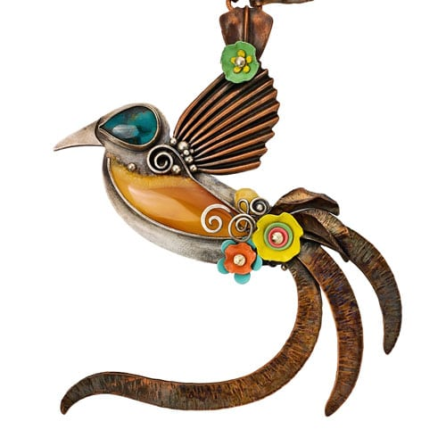 Cendrawasih bird of paradise mixed metal necklace by Popnicute Jewelry