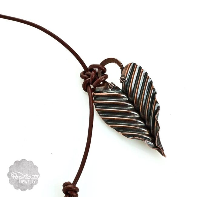 Copper heart necklace corrugated loop pendant by Popnicute Jewelry. Unique one of a kind necklace on leather cord.