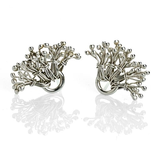 Sterling silver dandelion ear posts earrings by Popnicute Jewelry
