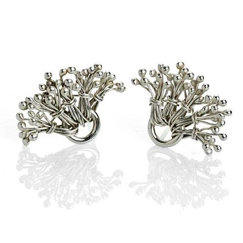 Sterling silver dandelion ear posts earrings by Popnicute Jewelry