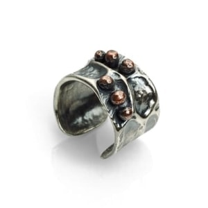 Sterling silver wide ring moon crater by Popnicute Jewelry
