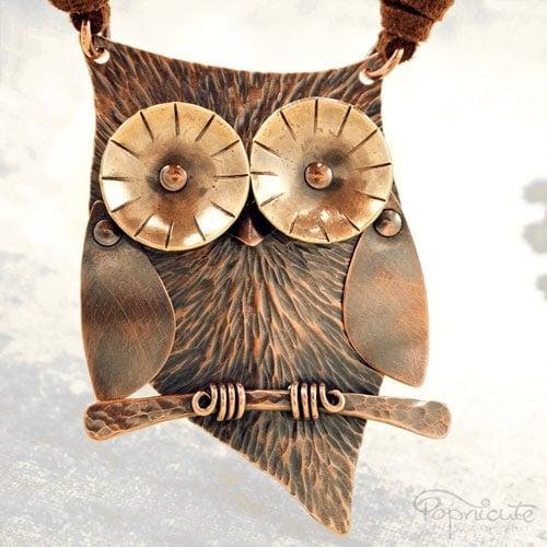 Cute Owl Necklace Copper Wearable Sculpture by Popnicute Jewelry