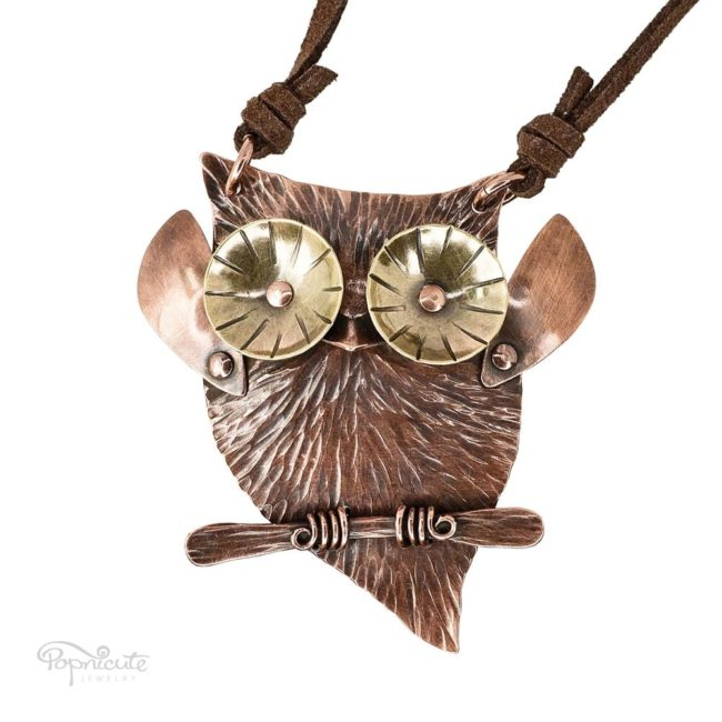 Popnicute Jewelry cute owl necklace in copper and brass. Wearable sculpture for your neck.