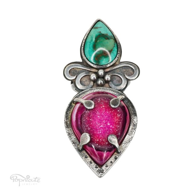 Spring Fairy sterling silver big cocktail ring with Chrysocolla and pink drusy Agate by Popnicute Jewelry.