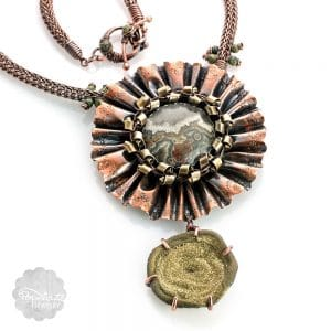 Sparkly Gold Drusy Ruffle Necklace