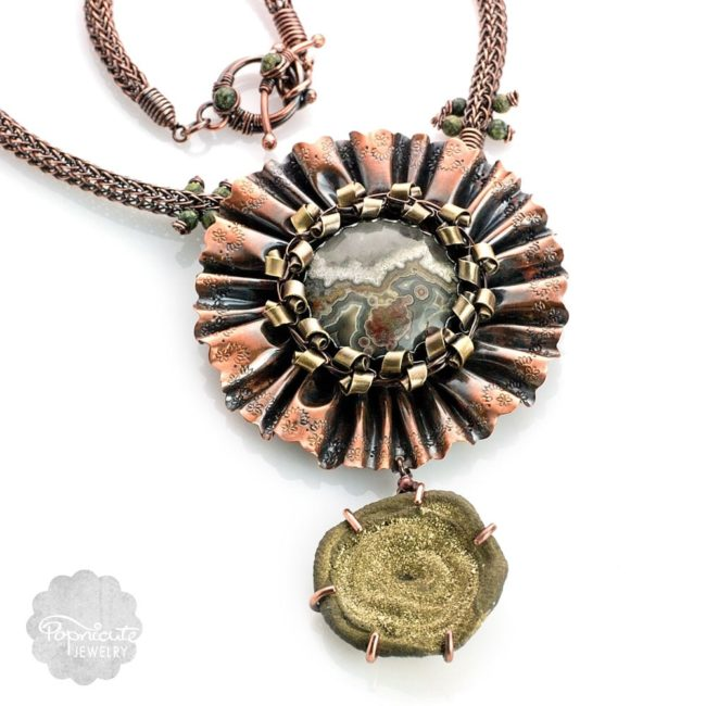 Chunky Gold Statement Necklace Drusy Agate by Popnicute Jewelry