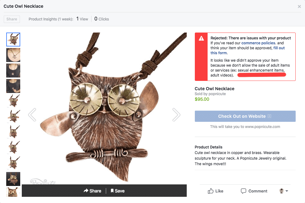 Popnicute jewelry Owl hoot facebook image recognition fail