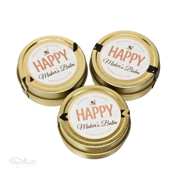 Happy Maker's Balm beeswax balm salve is made of beeswax that's extra moisturizing for dry hands. Beeswax has antibacterial and healing properties. The beeswax came from a bee farm in Quincy, IL. All natural product that's locally made and has a very sweet and soft scent of honey from the beeswax.